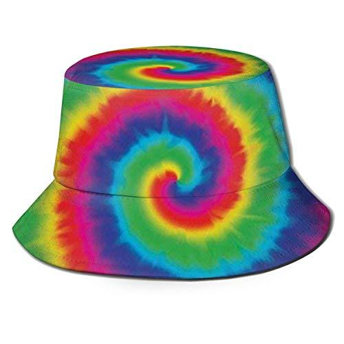 shenguang Rainbow Tie Dye Durable Bucket Hat Unisex Sombrero de Sol Fisherman Packable Trave Cap Fashion Outdoor Hat