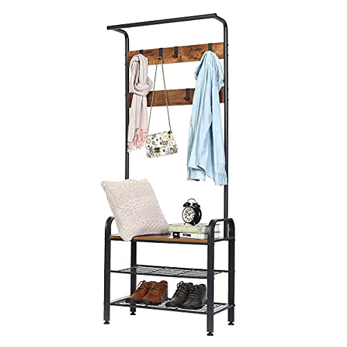 Coat Rack Shoe Bench, 4 in 1 Design Hall Tree with Shoe Storage for Entryway, Industrial Accent Furniture with Metal Frame, 9 Hooks, Rustic Brown