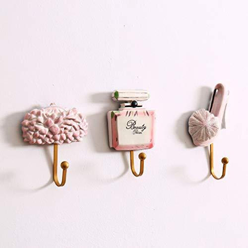 Eva hao creatieve hars geperforeerde haak, ijdelheid item vorm wandhaak, familie badkamer keuken muur decoratie - 3 stuk set (hoge hakken/parfum)