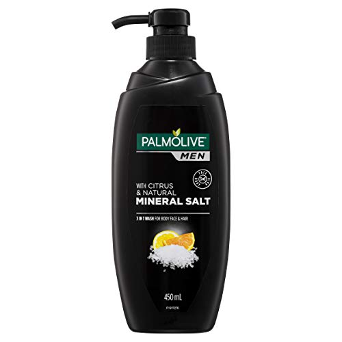 Palmolive Men 3 in 1 Wash For Body Face and Hair With Citrus and Natural Mineral Salt, 450mL