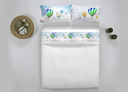 Smartsupershop Offre : Parure de lit (Deux Places) Montgolfières en Impression numérique de Haute qualité – Fabriqué en Italie -
