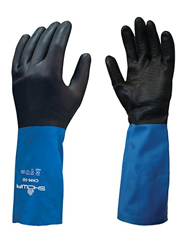 SHOWA CHML-09 Neoprene Over Natural Rubber Latex Glove with Cotton Flock Liner, Large (Pack of 12 Pairs),Black