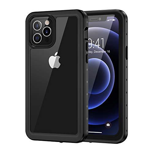 Lanhiem Cover iPhone 12 PRO Max(6.7') Impermeabile 5G[IP68 Certificato Waterproof] Custodia con Protezione dello Schermo Antiurto Antipolvere AntiGraffio Subacquea Caso per iPhone 12 PRO Max,Grigio