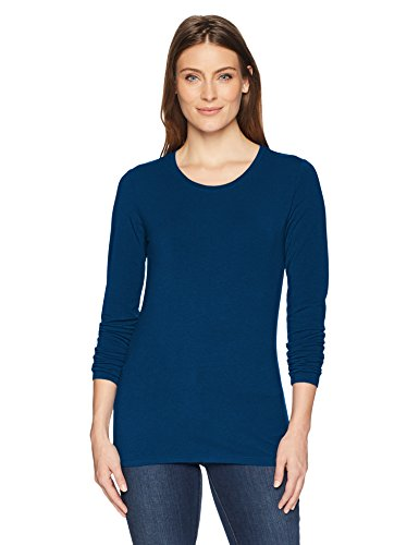 Amazon Essentials Women's Classic-Fit Long-Sleeve Crewneck T-Shirt, Dark Teal, Medium