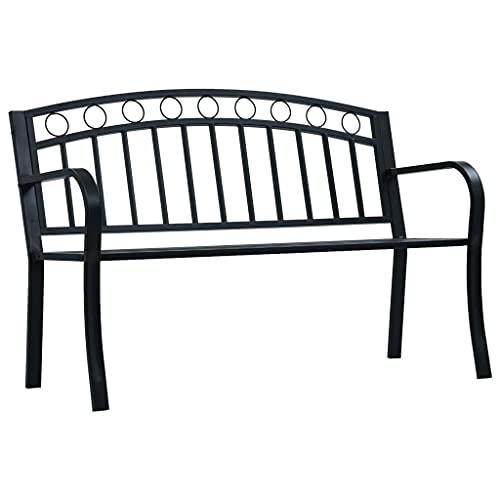 vidaXL Panchina da Giardino con Braccioli Curvati Elegante Robusta Classica Panca Arredi da Esterno Sedute 125 cm Nera in Acciaio