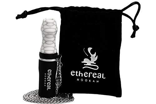 Ethereal Hookah Boquilla Premium reutilizable para Cachimba | Exclusivo accesorio para tu Shisha | Fabricada en Resina y Silicona | Incluye colgante de acero y bolsa de terciopelo (Blanco)