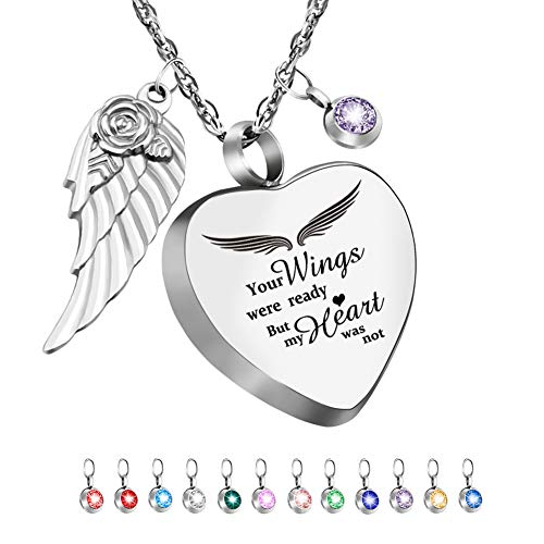 Heart Urn Necklace for Ashes with 12 Birthstones Cremation Jewelry for Ashes -Your Wings Were Ready My Heart Was Not