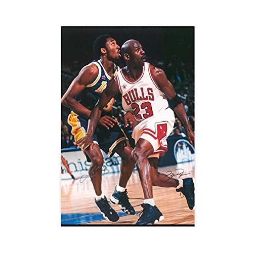 Póster firmado de Michael Jordania legendario de la estrella del baloncesto de la lona del dormitorio, decoración del paisaje de la oficina, regalo Unframe: 60 x 90 cm