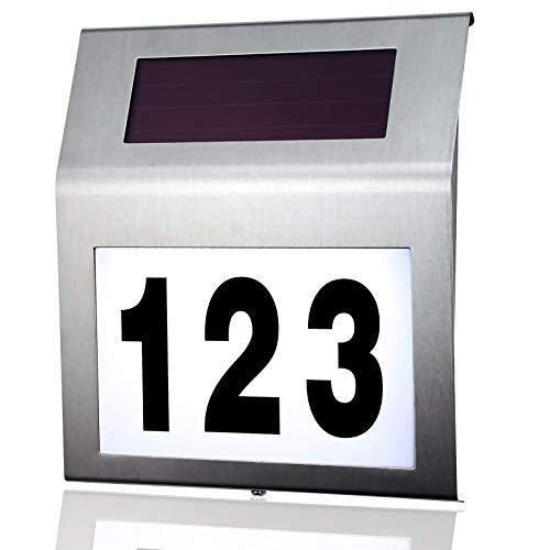 MOLVCE numero civico in acciaio inox solare illuminato 2 LED numero civico solare con interruttore crepuscolare IP65 esterno impermeabile con numeri 0-9 e lettere A-H