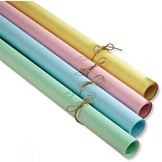 Spring Kraft Gift Wrap Set - 4 Rolls (Green, Yellow, Pink, and Blue), 38 sq. ft. Each (20' x 23