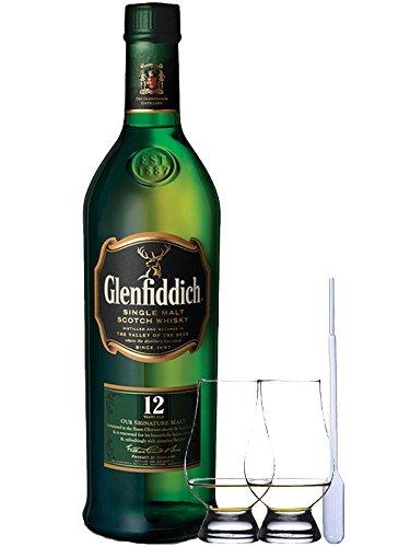Glenfiddich 12 Jahre Single Malt Whisky 0,7 Liter + 2 Glencairn Gläser und Einwegpipette
