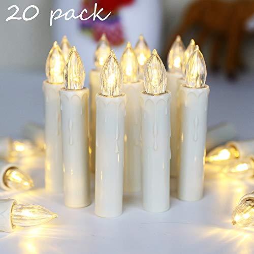 20er LED Kerzen mit Timer, Fernbedienung und Batterien, IP64 Dimmbar Kerzenlichter Flammenlose Weihnachtskerzen für Weihnachtsbaum, Weihnachtsdeko, Hochzeit, Geburtstags, Party-Warmes Weiß