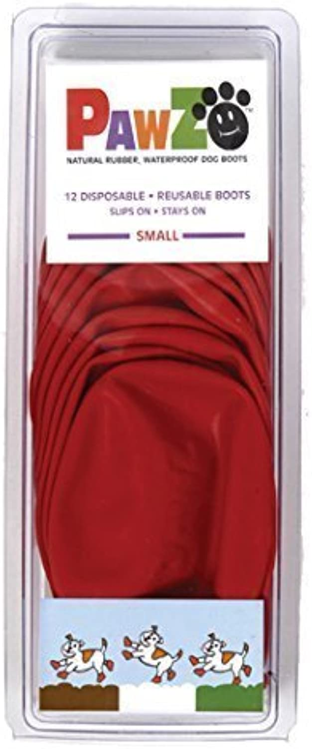 Dog Boots Disposable, Reusable, Waterproof Pawz Set of 12 color Red Size Small by Pawz