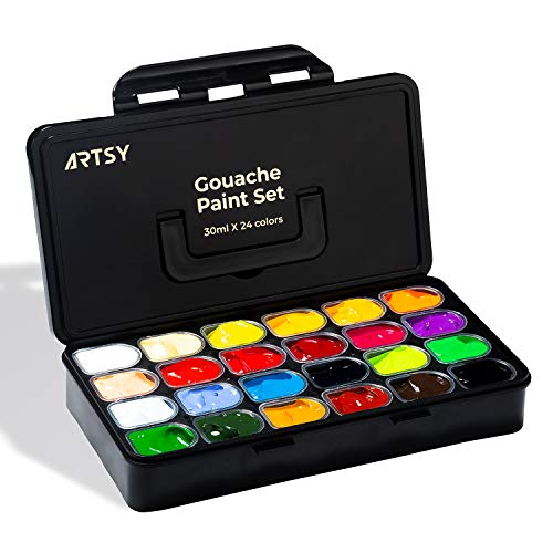 ARTSY Gouache Paint Set, 24 Colors x 30ml New Unique Jelly Cup Design in a Portable Carrying Case Perfect for Artists, Students, Gouache Opaque Watercolor Painting