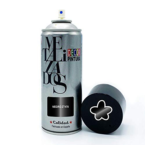 Pintura Spray METALIZADA Negro METALIZADA 400ml imprimacion para madera, metal, ceramica, plasticos / Pinta Radiadores, bicicleta, coche, plasticos, microondas, graffiti