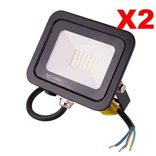 POPP® Foco Proyector LED 20W para uso Exterior Iluminación Decoración 6000K luz fria Impermeable IP65 Negro y Resistente al agua.PACK x2 (20)