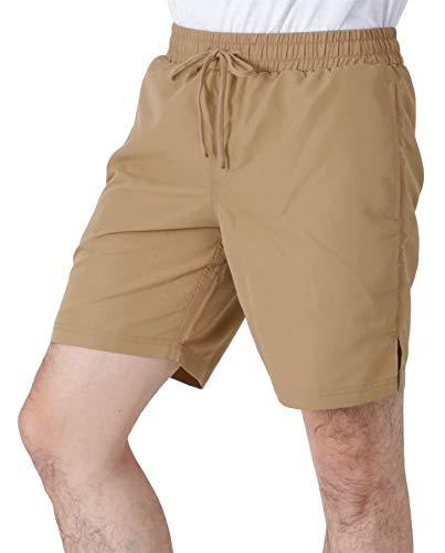 PONTAPES(ポンタペス) サーフパンツ メンズ ロング丈 全18色 PR-4900 ベージュ Lサイズ ボードショーツ 水陸両用 水着 海水パンツ ランニング ウェア 茶色 無地