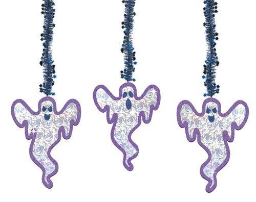 3 décorations à suspendre - découpages prismatiques et guirlandes étincelantes - Fantômes Halloween