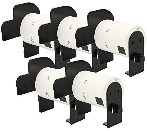 5X DK-11207 58 x 58 mm Rollos de Etiquetas Circulares para CD DVD (100 Etiquetas por Rollo) compatibles para Brother P-Touch QL-1110NWB QL-1100 QL-1060N QL-500 QL-570 QL-700 QL-800 QL-810W QL-820NWB