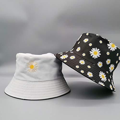 Double side Unisex Bucket Hat Fishing Outdoor Cap women Bucket fishing Hats Sunscreen Daisy embroidery fisherman hat -white-16