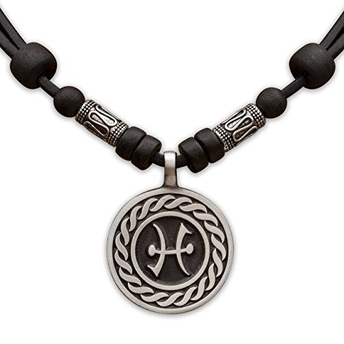 HANA LIMA 1 von 12 Sternzeichen Tierkreiszeichen an Verstellbarer Lederkette mit Edelstahlperlen Horoskop Horoscope Halskette Surferkette L - Fische (Pisces) / 20. Februar - 20. März