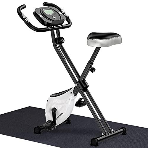 WOWSPEED Folding Exercise Bike, Stationary Exercise Bike Magnetic Upright Bike with Heart Rate, Adjustable Seat, Phone Holder, for Home Aerobic Exercise Training
