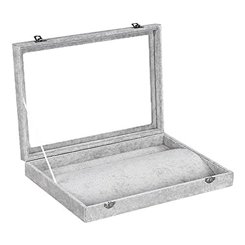 YMHM Caja de Joyería Caja de Joyería de Terciopelo de Hielo Caja de Almacenamiento de Joyería Europea Caja de Regalo con Soporte de Joyería de Gran Espacio,A