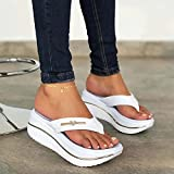 Women's platform flip flop slip-on summer slippers, Comfortable Thong Sandals Ladies Wedge High Heels open toe shoes with orthotic arch support (white, 43)