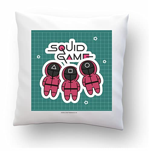 CRAFT MANIACS Squid Game Fun Game for Survival 16*16 INCHES Pillow with Filler   Latest Release Squid Game Merch