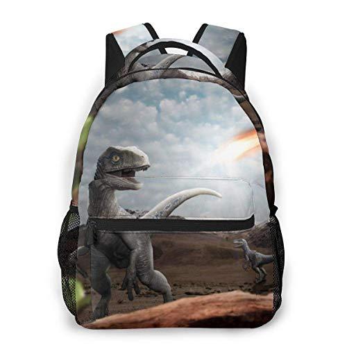 IUBBKI Dinosaur Apocalypse Unisex Backpacks with Adjustable Padded Shoulder Straps Casual Backpack