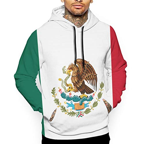 Eamibay Flag of Mexico Men\'s Pullover Sweatshirt Hoodies Drawstring Pullover Hoodies Sweater with Pocket M