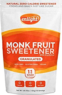 Enlight Monk Fruit Sweetener - 1:1 Sugar Substitute (1 lb) - Natural Plant Based Paleo Sugar Free Sweetener (Zero Calories, Non-Glycemic, Keto Approved, Granulated)