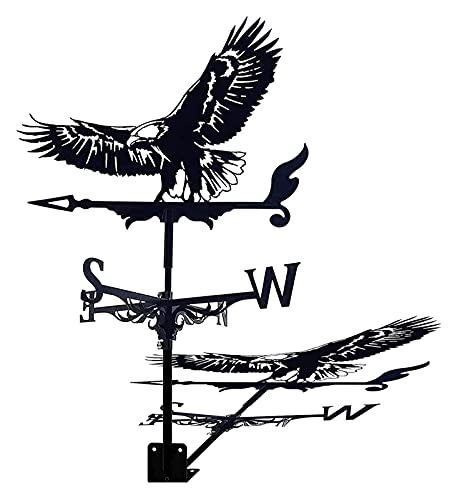 WeatherVane con montaje en la azotea Vane de la dirección del viento Indicador de dirección del viento, retro búho Bald Eagle Forma Metal WeatherCock Garden, Creative Acero inoxidable Decoración for e