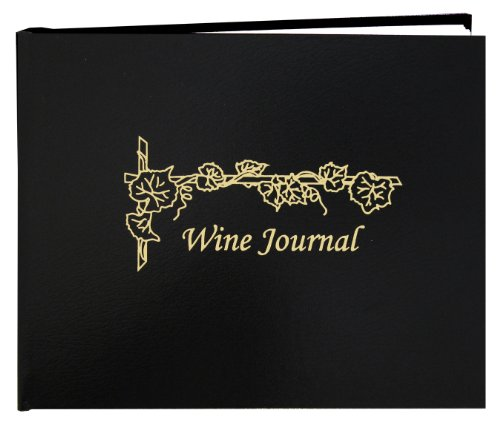 """BookFactory Wine Journal/Wine Log Book/Wine Collector's Diary/Wine Notebook - Black Leather Cover - 72 Pages Professional Grade Smyth Sewn Hardbound 8 7/8"""" x 7"""" (LOG-072-XLO-TWR-WINE-XKT43R)"""