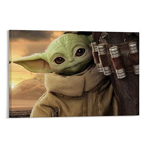 DRAGON VINES Póster personalizado de Star Wars The Mandalorian Baby Yoda para dormitorio, sala de estar, cocina, decoración de pared de 30 x 45 cm