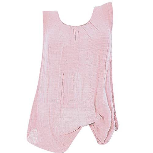 HIRIRI Womens Tank Tops Plus Size Cotton Linen Sleeveless Baggy T-Shirt Vest Tee Ruched Blouse Shirts Pink
