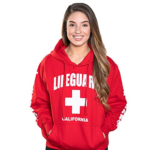 LIFEGUARD Officially Licensed Ladies California Hoodie Sweatshirt Apparel for Women, Teens and Girls (X-Large, Red)