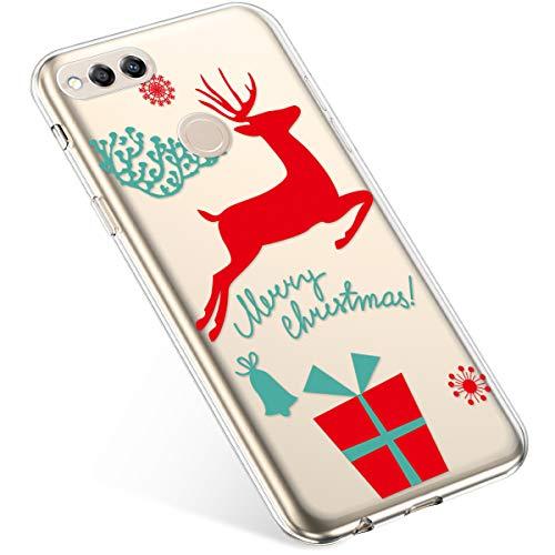 Uposao Kompatibel mit Handyhülle Huawei Honor 7X Hülle Transparent Silikon Ultra Dünn Schutzhülle Durchsichtig Handyhülle Kristall Weiche Silikon TPU Handytasche Rückschale,Weihnachten Geschenk