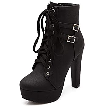 Susanny Women Autumn Round Toe Lace Up Ankle Buckle Chunky High Heel Platform Knight Black Martin Boots 8.5 B  M  US  CN Size_41