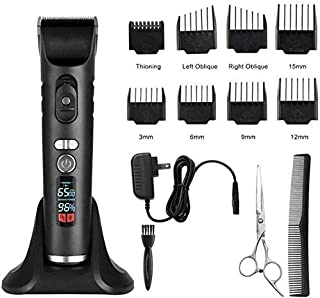 Mopoq Rechargeable Hair Trimmer for Men Cordless Electric Clippers Hair Cutting Kit with 8 Guide Combs Including Charging ...