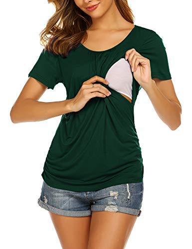Ekouaer Summer Maternity Clothes Nursing Tops Women Breastfeeding Shirts Ruched Waist Nursing Tee Dark Green M