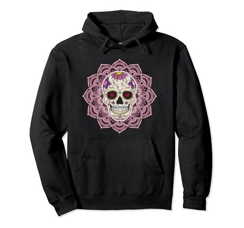 Mandala Corazón Ojos Azúcar Calavera Flores Día de los Muertos Sudadera con Capucha