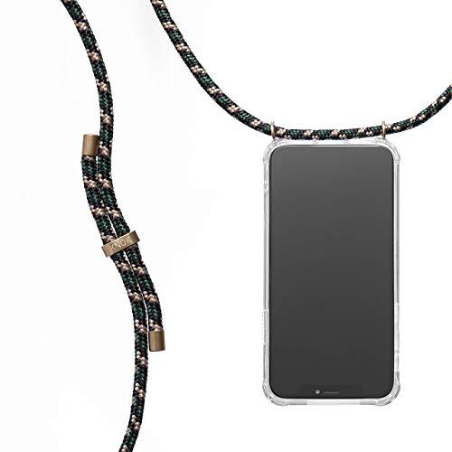 KNOK Handykette Kompatibel mit Samsung Note 10 - Silikon Hülle mit Band - Handyhülle für Smartphone zum Umhängen - Transparent Case mit Schnur - Schutzhülle mit Kordel in Tarngrün