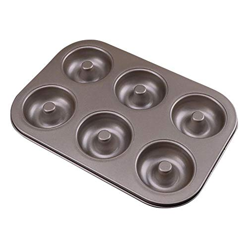 N / A 6-Cavity Donut Baking Tray, Carbon Steel molding Tray, Non-Stick Surface, for Mini Bagel Cookie Cookie Recipe Mold