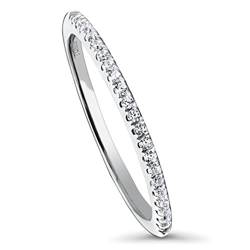 BERRICLE Rhodium Plated Sterling Silver Cubic Zirconia CZ Anniversary Half Eternity Band Ring Size P 1/2