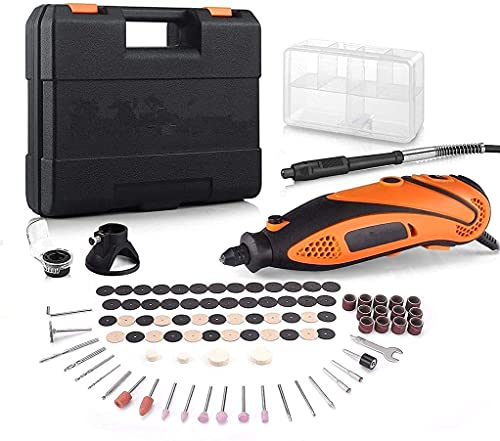 Rotary Tool Kit With Upgraded MultiPro Keyless Chuck, Versatile Accessories And 4 Attachments & Carrying Case, 6 Speed Engraving Tool Accessory, Multi-Functional for Crafting and DIY -RTD35ACL