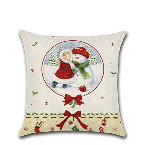 JBDGNZ Christmas Linen Cushion Cover Decorative Cartoon Snowman Cute Girl Christmas Tree Pillowcase,Style,6,45cm*45cm