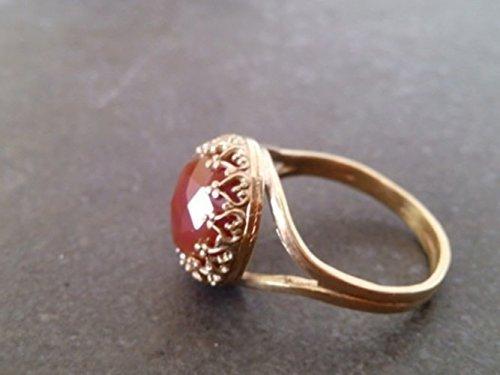 Gold Ring Cushion Ring Checker Cut Ring Birthstone Ring Gemstone Ring Carnelian Ring Drilled Carnelian Ring