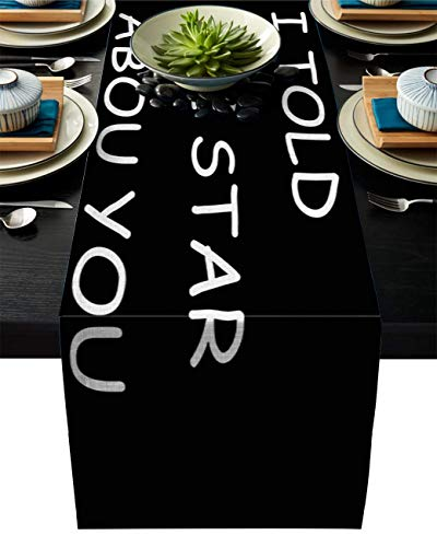 Pag Crane Camino de Mesa de Tela Duradera, le Dije a la Estrella sobre ti Caminos de Mesa Lavables con patrón Negro para el hogar/Cocina/Mesa de Comedor