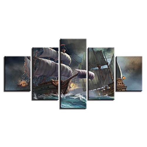 agwKE2 Lienzo HD Impresiones Imágenes Arte de la Pared 5 Piezas Velero Pinturas abstractas Barco Pirata Paisaje Marino Póster Decoración Modular para el hogar / 40x60 40x80 40x100cm (sin Marco)